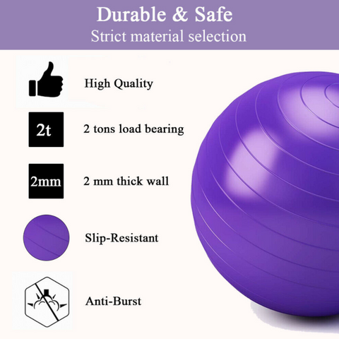 Bayside Wellness Exercise Workout Yoga Ball anti slip and thick and durable PVC materials