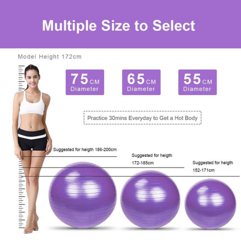 Ball size based on body height chart 3 sizes