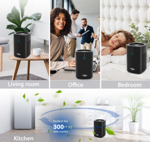 Membrane Solutions Large Room Air Purifier HEPA Filter Air Cleaner compact size handles kitchen, bedroom office, living room