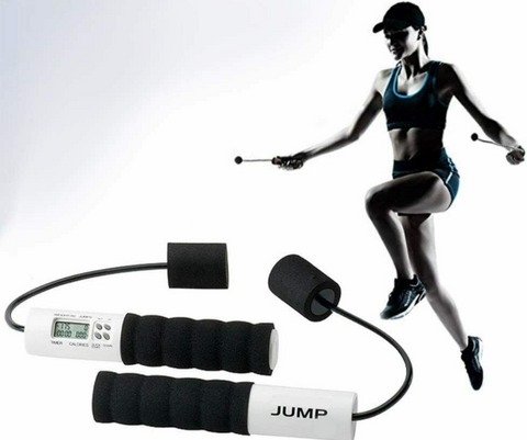 woman enjoying a healthy workout with Pro fit Cardio Jump digital ropeless Jump rope