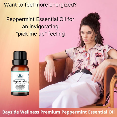 Woman with low energy wanting to be invigorated with Bayside Wellness Premium Peppermint Essential Oil