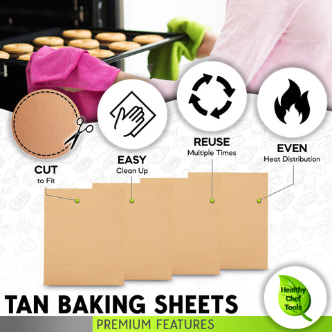 premium tan baking sheets cut to fit, easy clean up , reuse and even heat distribution