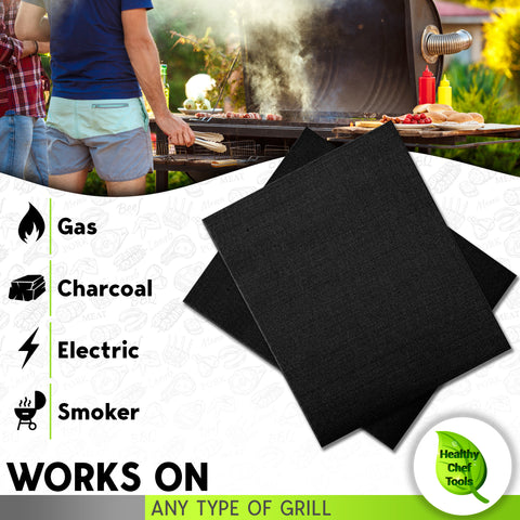 Healthy Chef tools grill mats work on any type of grill