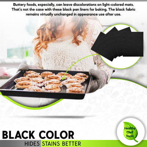 black baking mats hides stains from buttery foods better