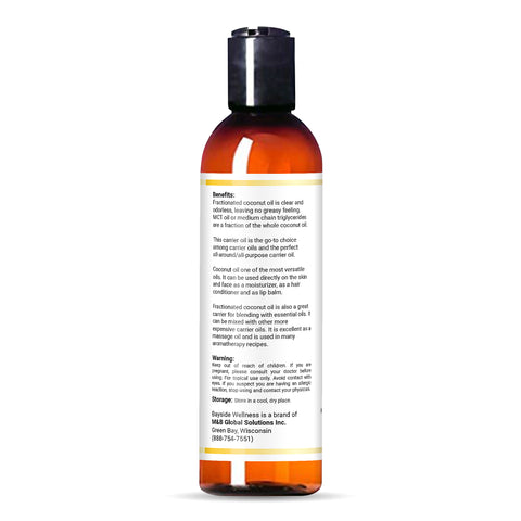 Pure fractionated coconut oil (FCO) bottle with  benefits and contact info