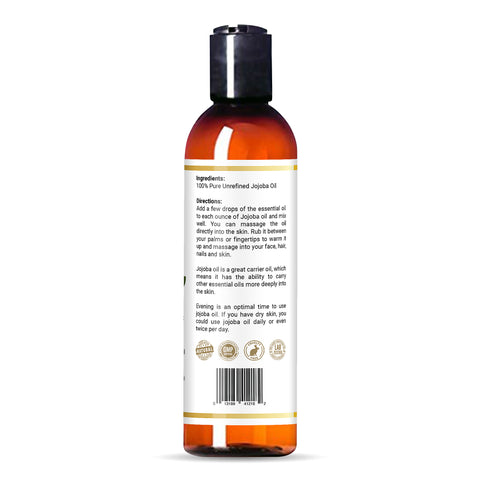 bottle of Bayside Wellness premium jojoba oil with certifications and directions