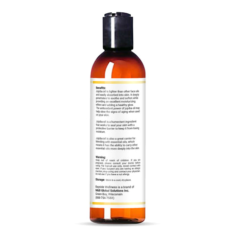 bottle of Bayside Wellness premium jojoba oil with benefits and contact information