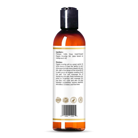 bottle of Bayside Wellness premium organic rosehip oil  with certifications and directions