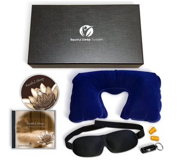 Premium Restful Sleep System, Guided Meditation CD, Neck Pillow, Sleep Mask, Earplugs