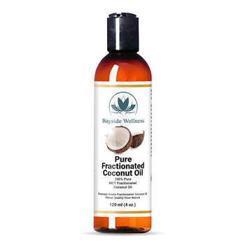 Bottle of pure fractionated coconut oil carrier oil