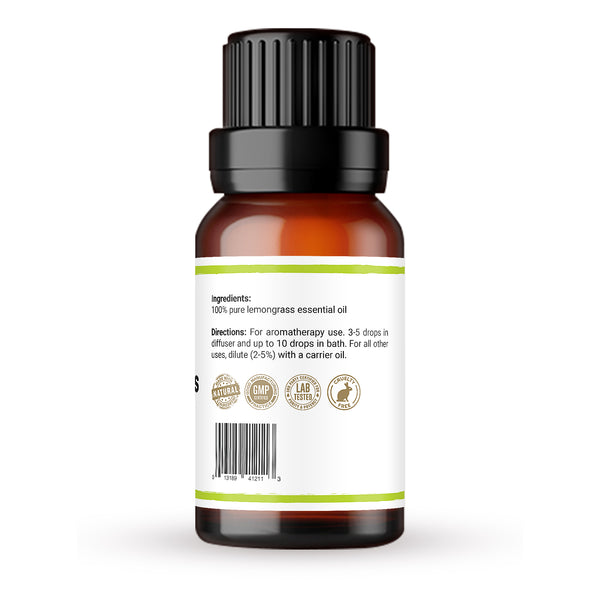 Premium 100% pure lemongrass essential oil back
