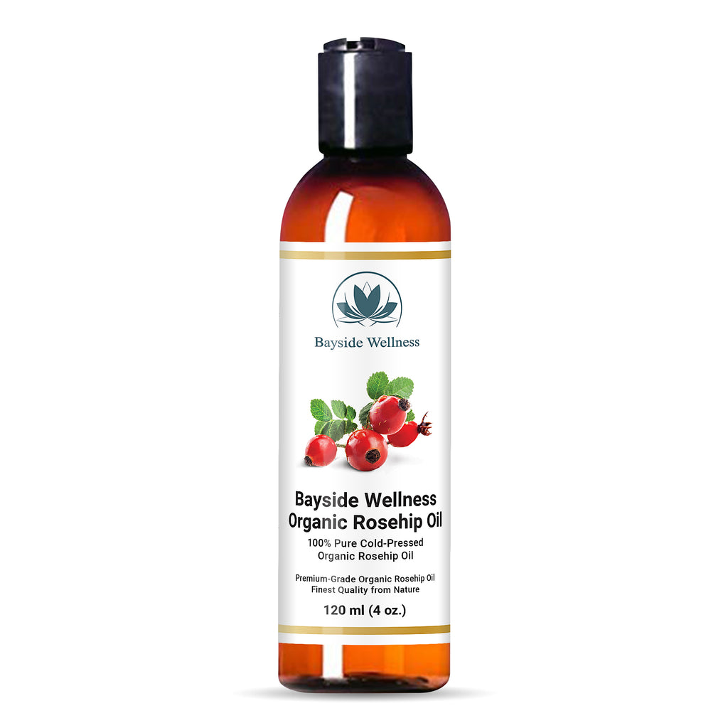 bottle of Bayside Wellness premium organic rosehip oil