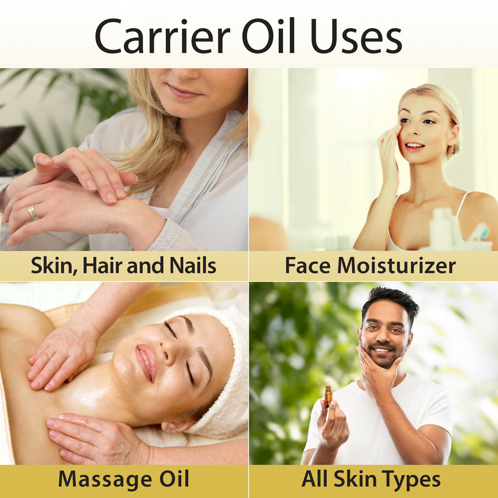 uses for carrier oils on skin nails and hair, face moisturizer massage and for any kind of skin