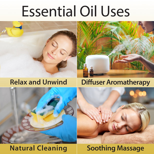 Essential oils uses relax and unwind, diffuser aromatherapy, natural cleaning, soothing massage