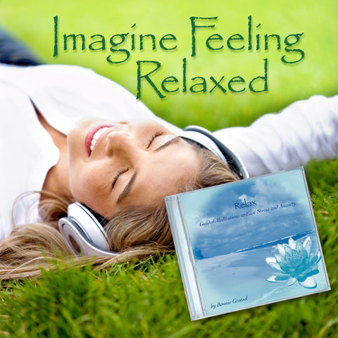 woman relaxing and ease anxiety listening to audio