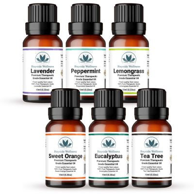 (Set of 6) Bayside Wellness Premium Pure Essential Oils 10 ml each for Aromatherapy, Diffuser, Skin Care; Lavender Oil, Peppermint Oil, Lemongrass Oil, Sweet Orange Oil, Eucalyptus Oil, Tea Tree Oil
