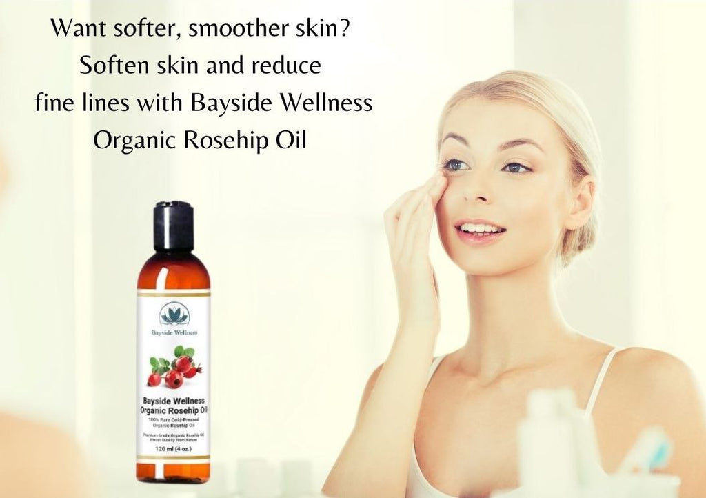 woman applying Bayside Wellness premium organic rosehip oil for softer skin and less wrinkles