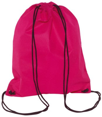 DOWNTOWN DRAWSTRING BACKPACK RUCKSACK in Pink with 2 Carrying Strings