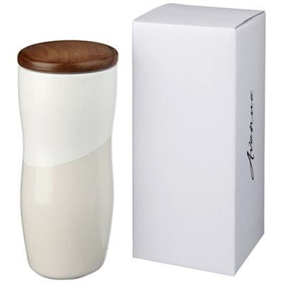 RENO 370 ML DOUBLE-WALLED CERAMIC POTTERY TUMBLER in White Solid