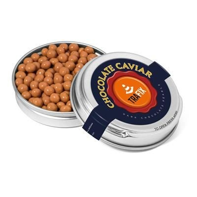 SILVER CAVIAR TIN FILLED with Salted Caramel Chocolate Pearls