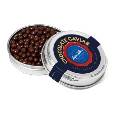 SILVER CAVIAR TIN FILLED with Dark Chocolate Pearls