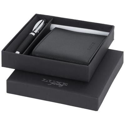 BARITONE BALL PEN AND WALLET GIFT SET in Black Solid