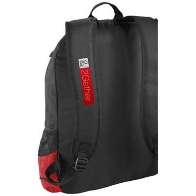 BENTON 15 LAPTOP BACKPACK RUCKSACK with Headphones Port in Black Solid-red