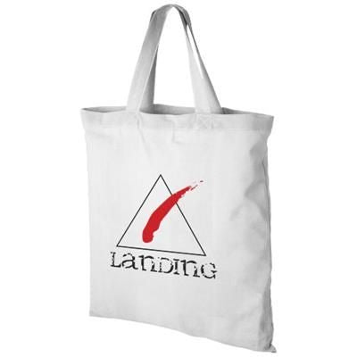 VIRGINIA 100 G-M² COTTON TOTE BAG SHORT HANDLES in White Solid