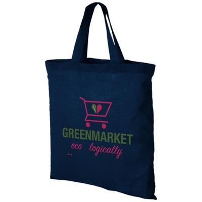 VIRGINIA 100 G-M² SHORT HANDLES COTTON TOTE BAG in Navy