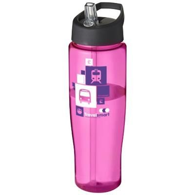 H2O TEMPO 700 ML SPOUT LID SPORTS BOTTLE in Pink-black Solid