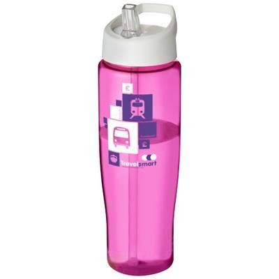 H2O TEMPO 700 ML SPOUT LID SPORTS BOTTLE in Pink-white Solid