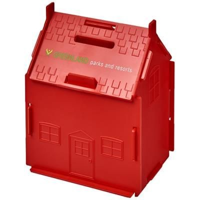 URI HOUSE-SHAPED PLASTIC MONEY CONTAINER in Red
