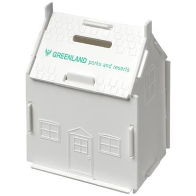URI HOUSE-SHAPED PLASTIC MONEY CONTAINER in White Solid