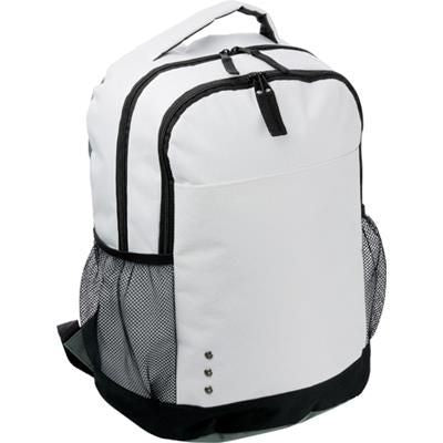 600D POLYESTER BACKPACK RUCKSACK in White