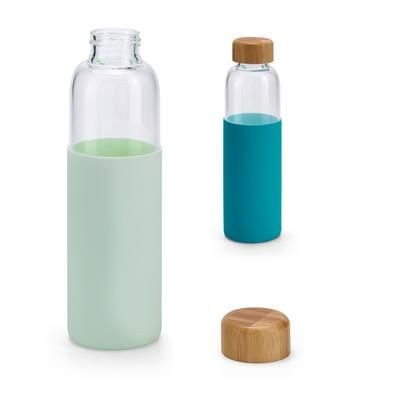 DAKAR BOROSILICATE GLASS BOTTLE with Bamboo Lid & Silicon Pouch