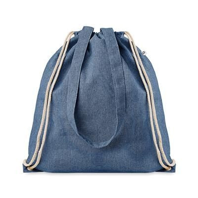 2 TONE RECYCLED COTTON AND RECYCLED POLYESTER SHOPPER TOTE BAG with Drawstring & Long Handles