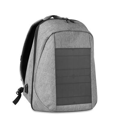 2 TONE 600D POLYESTER BACKPACK RUCKSACK with Built-in 10w Solar Panel Charger with USB Port & Cable