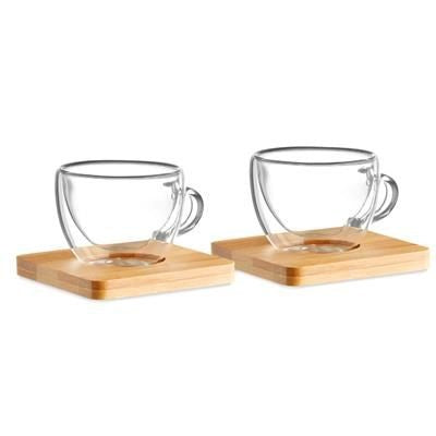 SET OF 2 DOUBLE WALL ESPRESSO GLASS with Bamboo Saucer