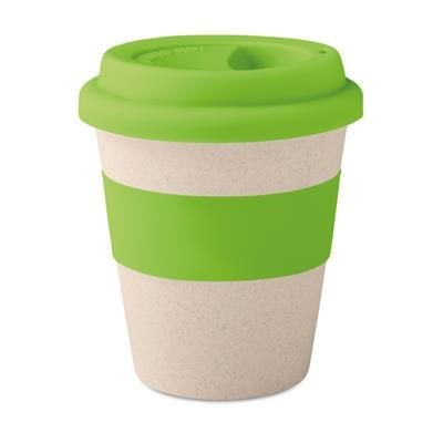 SINGLE WALL TUMBLER in 40% Bamboo Fibre & 60% Pp with Silicon Lid & Grip