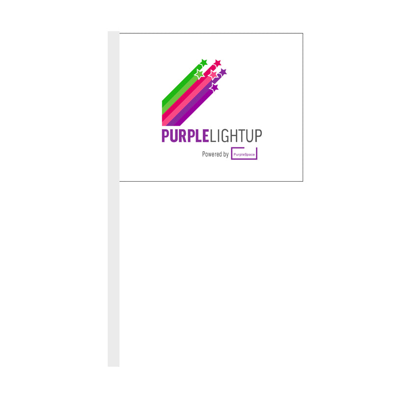 Paper hand flag printed on both sides with the Purple Light Up logo. *Price includes delivery to 1 UK address*