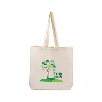100% NATURAL ECO FRIENDLY COTTON SHOPPER TOTE BAG with Outside Printed Label