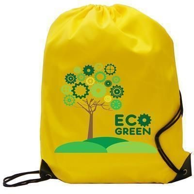 BURTON CHILDRENS 210D YELLOW POLYESTER GYM SACK DRAWSTRING BAG