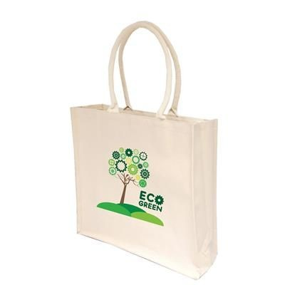 10OZ LARGE NATURAL COTTON CANVAS SHOPPER TOTE BAG with Inside Lamination