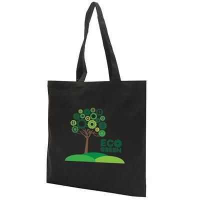 12OZ COTTON CANVAS SHOPPER TOTE BAG in Black