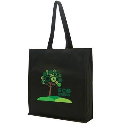 12OZ COTTON CANVAS SHOPPER TOTE BAG in Black with Gusset