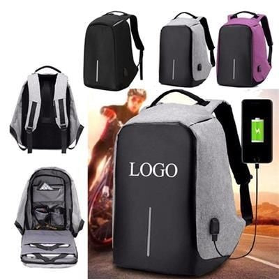 ANTI-THEFT TRAVEL BACKPACK RUCKSACK with USB Charger Port