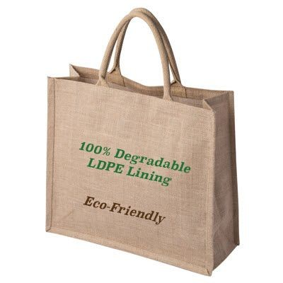 100% DEGRADABLE NATURAL TATTON JUTE SHOPPER TOTE BAG FOR LIFE with Degradable Lining