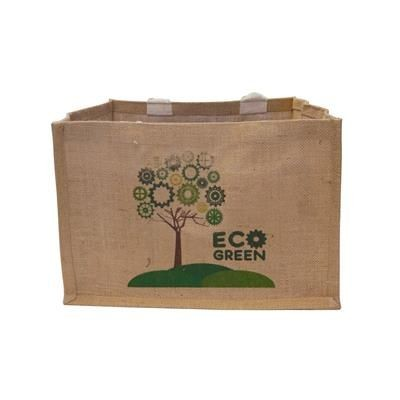 100% NATURAL JUTE BOX SHOPPER TOTE BAG with Pp Lamination