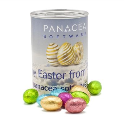 TIN OF MINI EASTER CHOCOLATE EGGS with Branded Wrapper