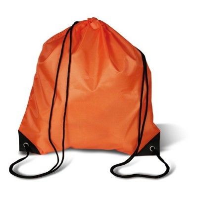 DRAWSTRING BACKPACK RUCKSACK with Cord in Orange